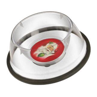 Navidad de Papá Noel del vintage Cuenco Para Mascotas