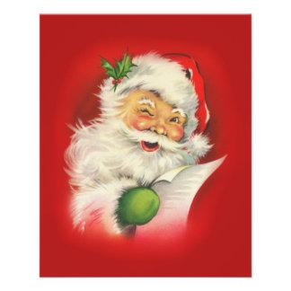 """Navidad de Papá Noel del vintage Folleto 4.5"""" X 5.6"""""""