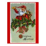 Navidad de Papá Noel que saluda la postal