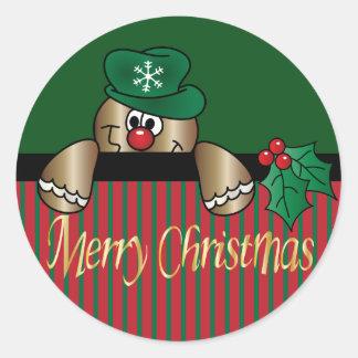 Navidad de Peeker el | del pan de jengibre Pegatina Redonda