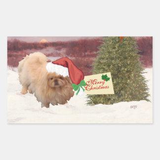 Navidad de Pekingese Pegatina Rectangular