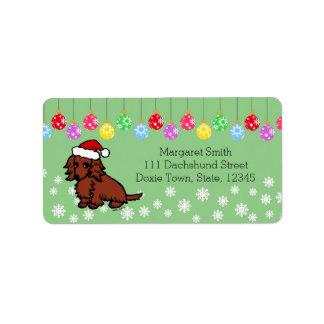 Navidad de pelo largo rojo del Dachshund lindo Etiquetas De Dirección