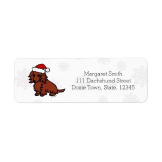 Navidad de pelo largo rojo del Dachshund lindo Etiquetas De Remite