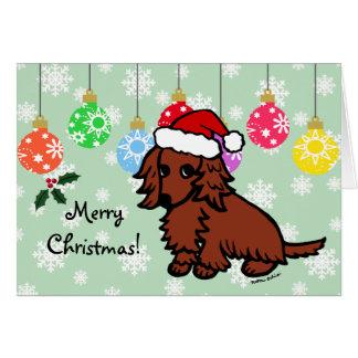 Navidad de pelo largo rojo del Dachshund lindo Tarjeta De Felicitación