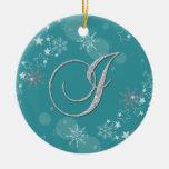 Navidad de plata azul de la inicial I de las Ornamentos Para Reyes Magos