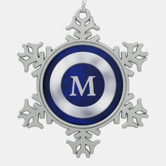 Navidad de plata azul del monograma adorno