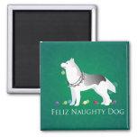Navidad de plata de Feliz Naughty Dog del husky Imán Cuadrado