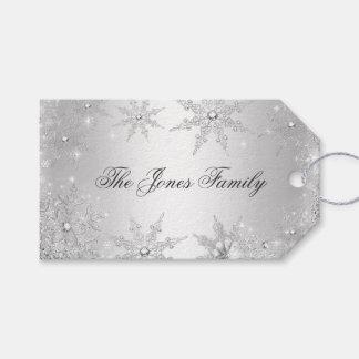 Navidad de plata del país de las maravillas del etiquetas para regalos