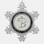 Navidad de plata elegante del monograma B Adorno