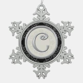 Navidad de plata elegante del monograma C Adorno De Peltre En Forma De Copo De Nieve