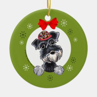 Navidad de plata negro del Schnauzer clásico Adorno Navideño Redondo De Cerámica