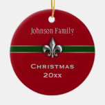 Navidad de plata personalizado de la flor de lis adorno redondo de cerámica