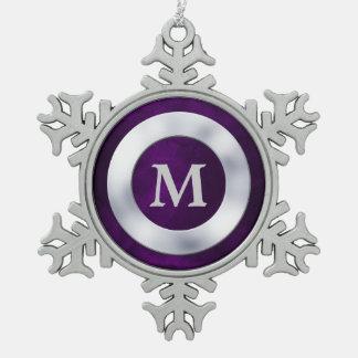 Navidad de plata púrpura del monograma adornos