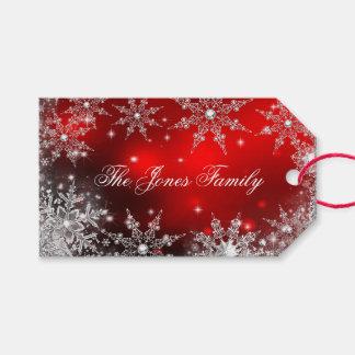Navidad de plata rojo 2 del país de las maravillas etiquetas para regalos