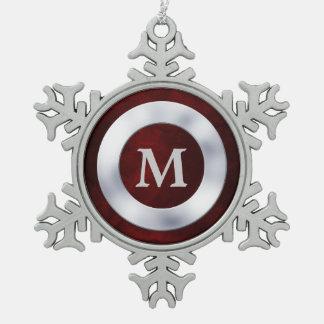 Navidad de plata rojo del monograma adorno
