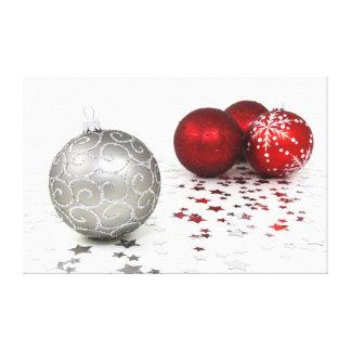 Navidad de plata y rojo impresion de lienzo