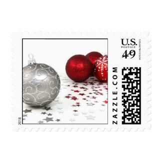 Navidad de plata y rojo sellos