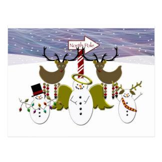 Navidad de Polo Norte de los muñecos de nieve de l Tarjeta Postal