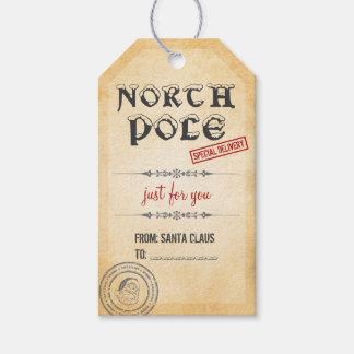 Navidad de Polo Norte del estilo del vintage Etiquetas Para Regalos