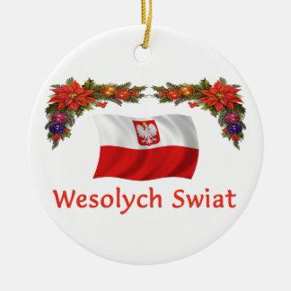 Navidad de Polonia Adorno Navideño Redondo De Cerámica