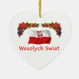 Navidad de Polonia Adorno De Cerámica En Forma De Corazón