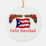 Navidad de Puerto Rico Adorno Navideño Redondo De Cerámica