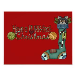 """Navidad de Purrfect que almacena el gato Invitación 4.25"""" X 5.5"""""""