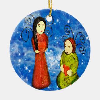Navidad de rogación de los ángeles adorno navideño redondo de cerámica