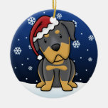 Navidad de Rottweiler del dibujo animado de Kawaii Ornamentos De Reyes