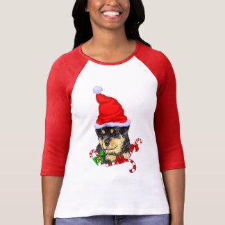 Navidad de Rottweiler feliz Playera