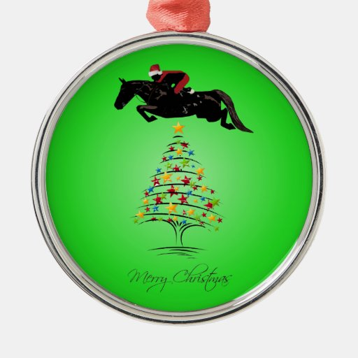 Navidad de salto del caballo adorno navideño redondo de metal