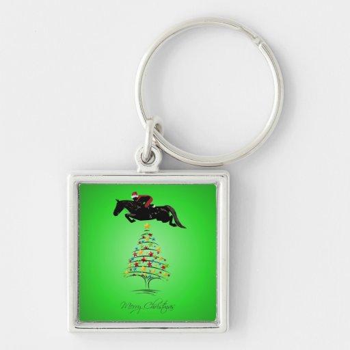 Navidad de salto del caballo llaveros personalizados