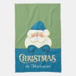 Navidad de Santa azul y toalla de cocina verde
