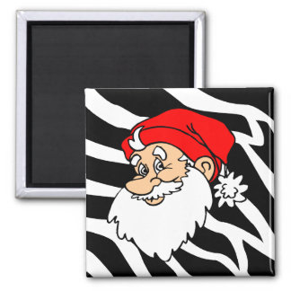 Navidad de Santa de la cebra Imán Cuadrado