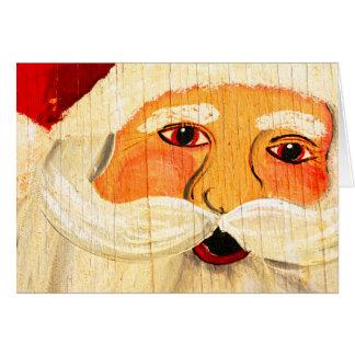 Navidad de Santa de la madera contrachapada del Tarjeta De Felicitación