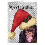 Navidad de Santa del mono Tarjetón