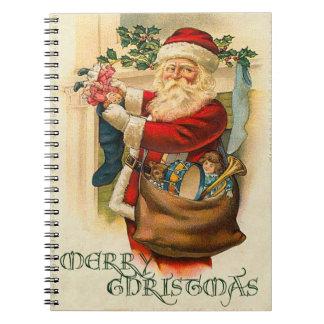 Navidad de Santa del vintage Libro De Apuntes Con Espiral