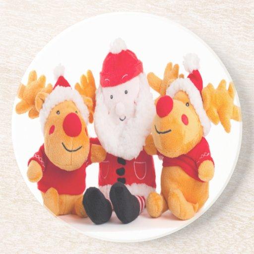navidad de santa y de los renos feliz posavasos personalizados