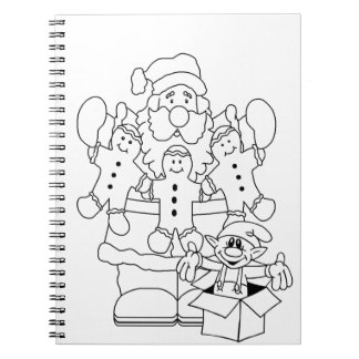Navidad de Santa y del duende Color-En Libretas