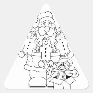 Navidad de Santa y del duende Color-En Pegatina Triangular