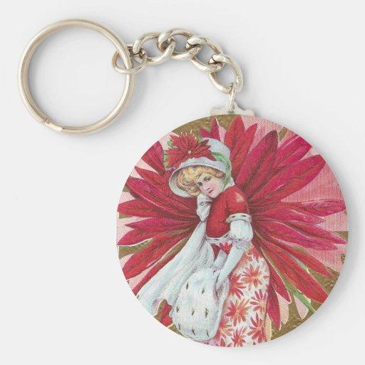 Navidad de señora Wearing Poinsettia Dress Vintage Llaveros