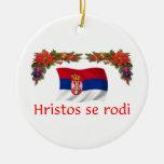Navidad de Serbia Adorno Navideño Redondo De Cerámica