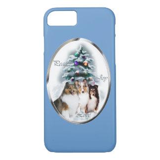 Navidad de Sheltie del perro pastor de Shetland Funda iPhone 7