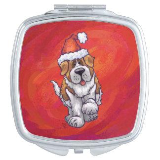 Navidad de St Bernard en rojo Espejos Compactos