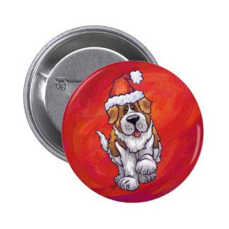 Navidad de St Bernard en rojo Pin Redondo De 2 Pulgadas
