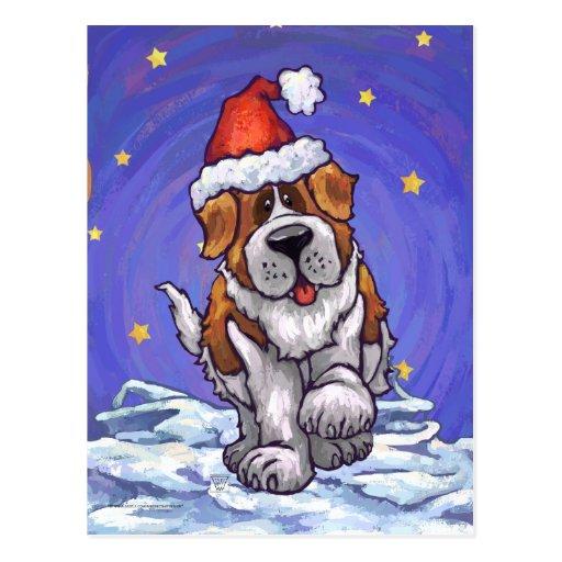 Navidad de St Bernard Tarjeta Postal