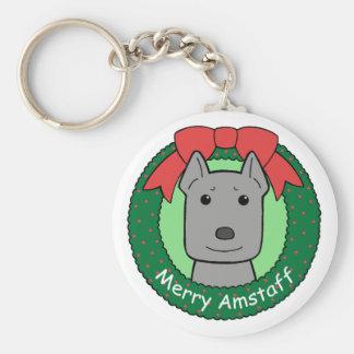Navidad de Staffordshire Terrier americano Llavero Redondo Tipo Pin