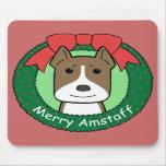 Navidad de Staffordshire Terrier americano Tapete De Ratón