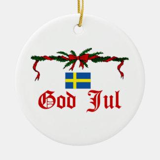 Navidad de Suecia Adorno Navideño Redondo De Cerámica