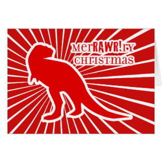 Navidad de T-Rex MerRAWRry Tarjeta De Felicitación
